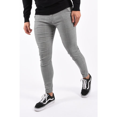 Y Checkered Stretch Pantalon Grey