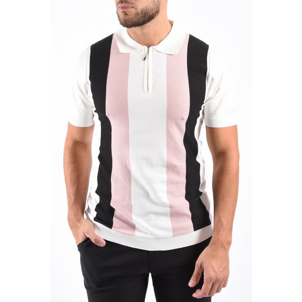 Y Knitted zip Polo White / Black / Pink