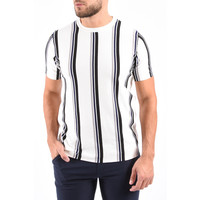 Y Knitted Striped T-Shirt White