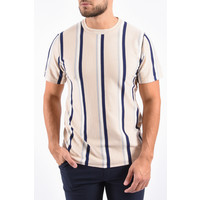 Y Knitted Striped T-Shirt Beige