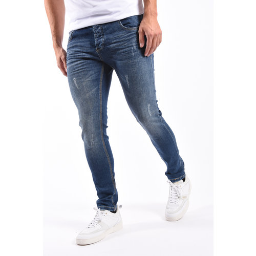Y Skinny Fit Stretch Jeans Blue with shreds