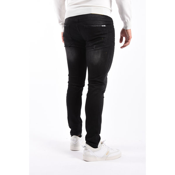 Y Skinny Fit Stretch Jeans Black with Yellow Splashes