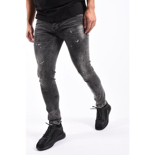 Y Skinny Fit Stretch Jeans  Grey with White splashes