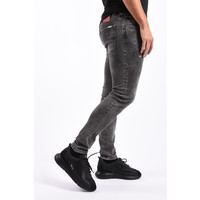 Y Skinny Fit Stretch Jeans  Grey with White splashes