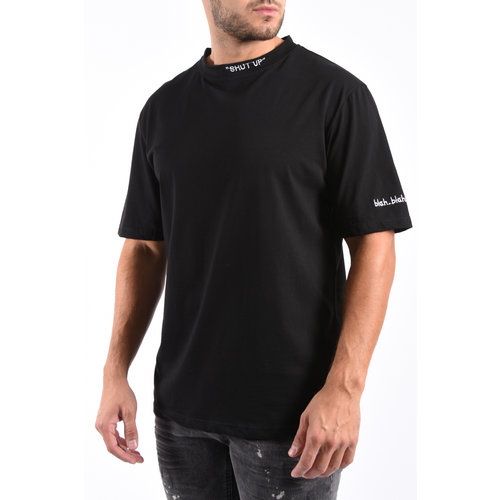 Y T-shirt 'Shut up' Loose fit Black