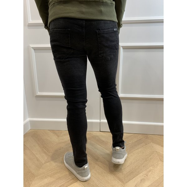 Y Skinny Fit Stretch Jeans Black Slightly Washed / Distressed