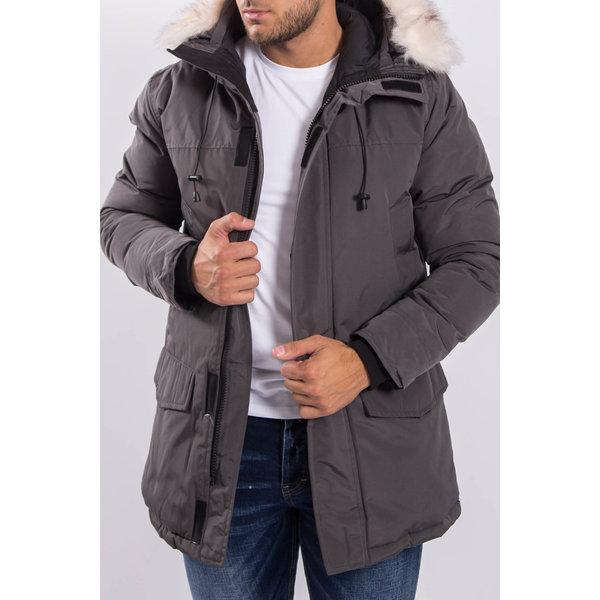 Y Winter Parka White Faux Fur - Grey