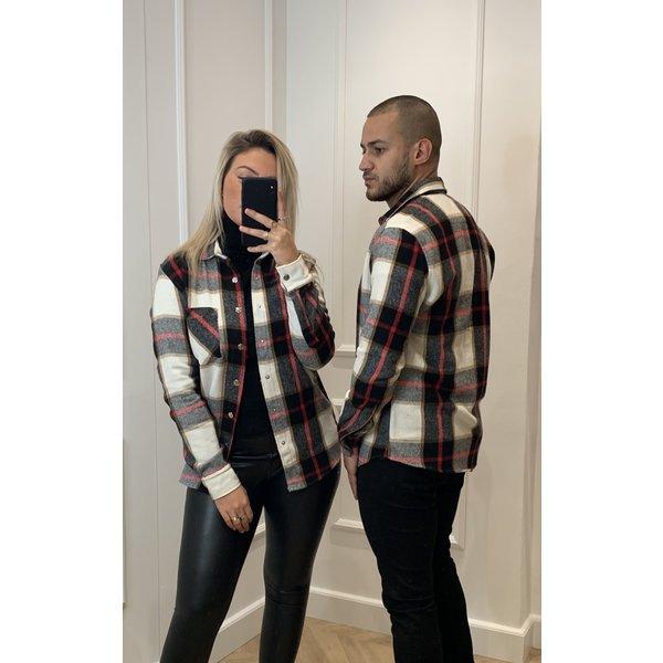 "Y Flannel Shirt ""Noah"" UNISEX Black / Red"