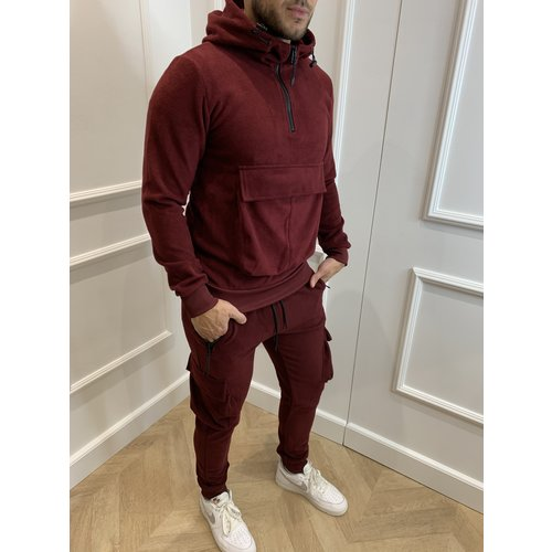 Y Tracksuit Teddy Front Pocket Bordeaux