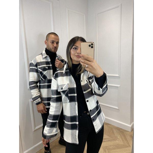 Y Flannel Jacket Pocket White / Black