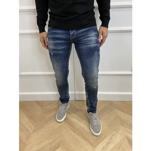 "Y DNM Skinny Fit Stretch Jeans ""trevor"" Blue - yellow / white splashes"