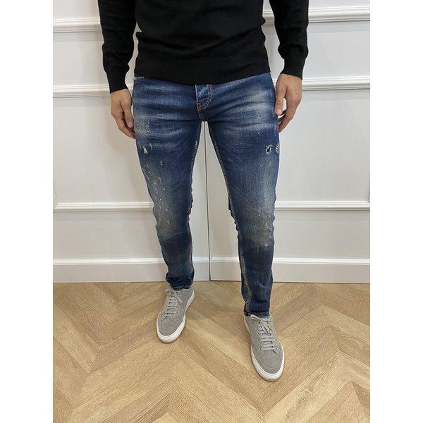 "Y DNM Skinny Fit Stretch Jeans ""trevor"" Blue - yellow / white splashes"