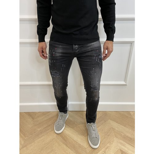 "Y DNM Skinny Fit Stretch Jeans ""trevor"" Black - red / white splashes"