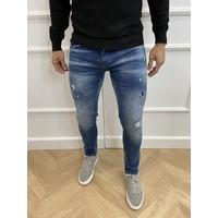 "Y DNM Skinny Fit Stretch Jeans ""trevor"" Blue - red / white splashes"