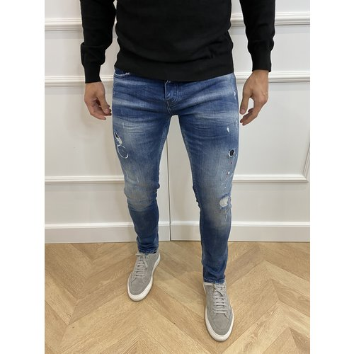"Y DNM Skinny Fit Stretch Jeans ""trevor"" Blue - red / white splashes"