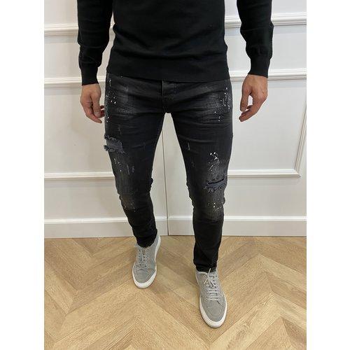 """Y DNM Skinny Fit Stretch Jeans """"trevor"""" Black - white splashes"""