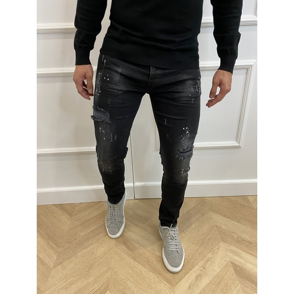 "Y DNM Skinny Fit Stretch Jeans ""trevor"" Black - white splashes"
