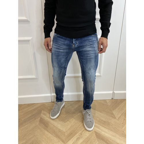 Y Skinny Fit Stretch Jeans Blue Washed & Splashed