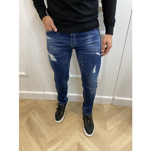 "Y Skinny Fit Stretch Jeans ""JASON"" Dark Blue Yellow / White Splashes"