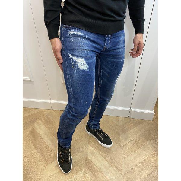"""Y Skinny Fit Stretch Jeans """"JASON"""" Dark Blue Yellow / White Splashes"""