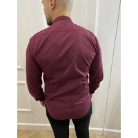 Y Slim fit stretch blouse round neck - Wine Red