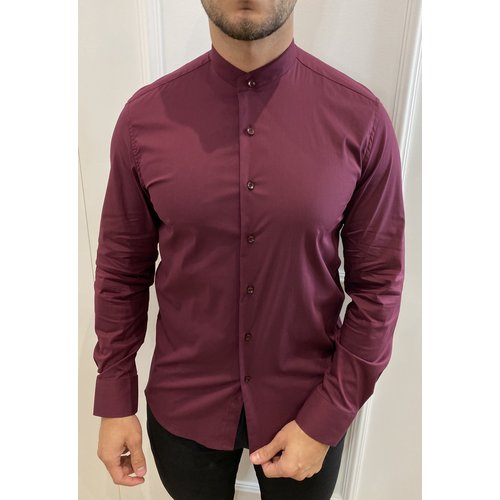 Y Slim fit stretch blouse round neck - Wine Red