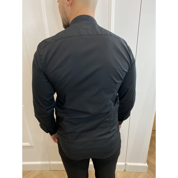 Y Slim fit stretch blouse round neck - Black