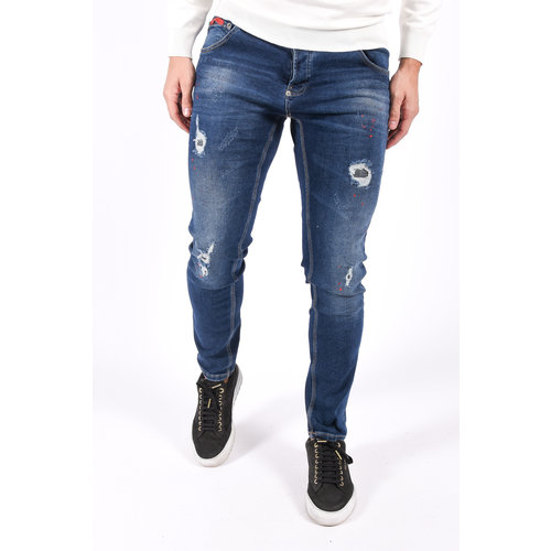 """Y Skinny fit stretch jeans """"428"""" Blue with red splashes"""