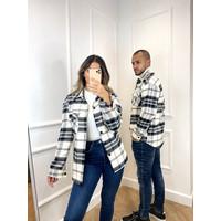 Y Flannel Jacket Pocket UNISEX White / Black