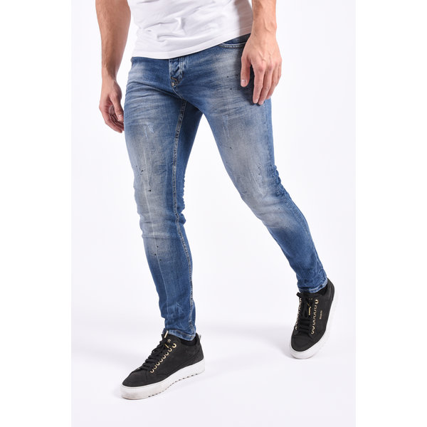 "Y Skinny fit stretch jeans ""miles"" Blue with black splashes"