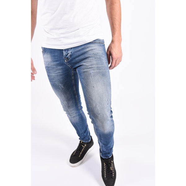"""Y Skinny fit stretch jeans """"miles"""" Blue with black splashes"""