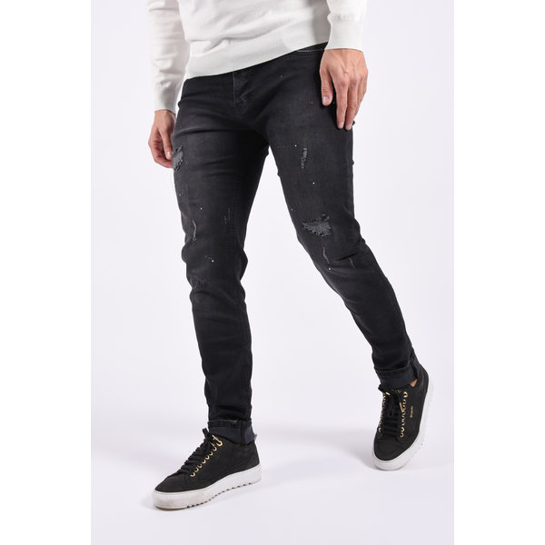 Y Skinny fit stretch jeans lang Black with red splashes