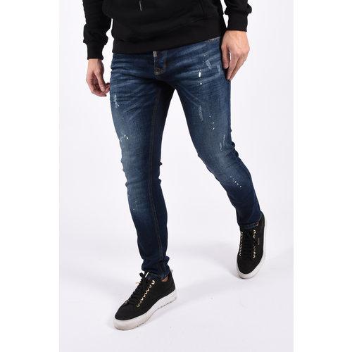 """Y Skinny fit stretch jeans """"nick"""" 464 Dark Blue / white splashes"""