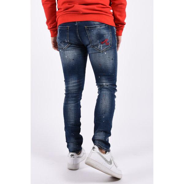 "Y Skinny fit stretch jeans ""mason""  Dark Blue splashed"