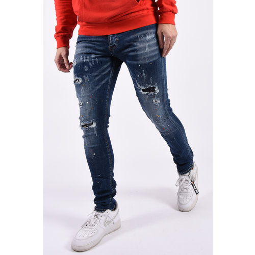 "Y Skinny fit stretch jeans ""mason""  Blue shreds & splashes"