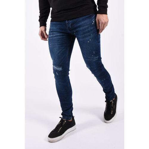 "Y Skinny fit stretch jeans ""space"" dark blue splashes"