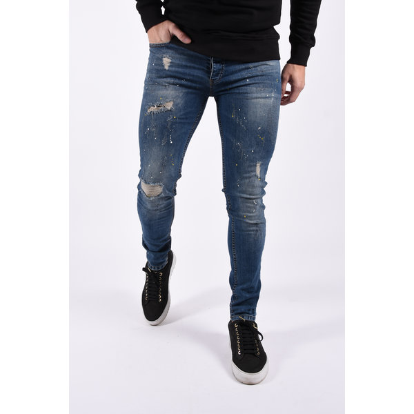 """Y Skinny fit stretch jeans """"loyd""""  blue with yellow white splashes"""
