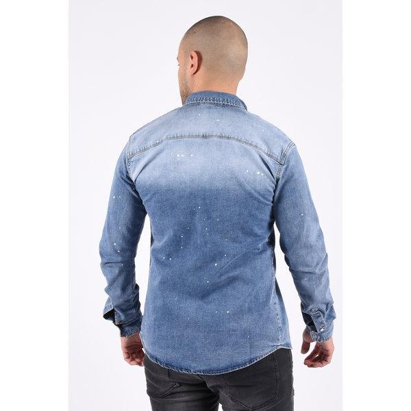 """Y Denim stretch blouse """"lee"""" Blue"""
