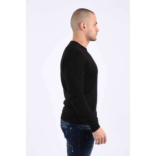 Y Knitwear classic round neck sweater black