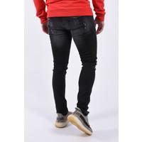 "Y Skinny fit stretch jeans 462 ""jeff"" Black / red white  splashes"