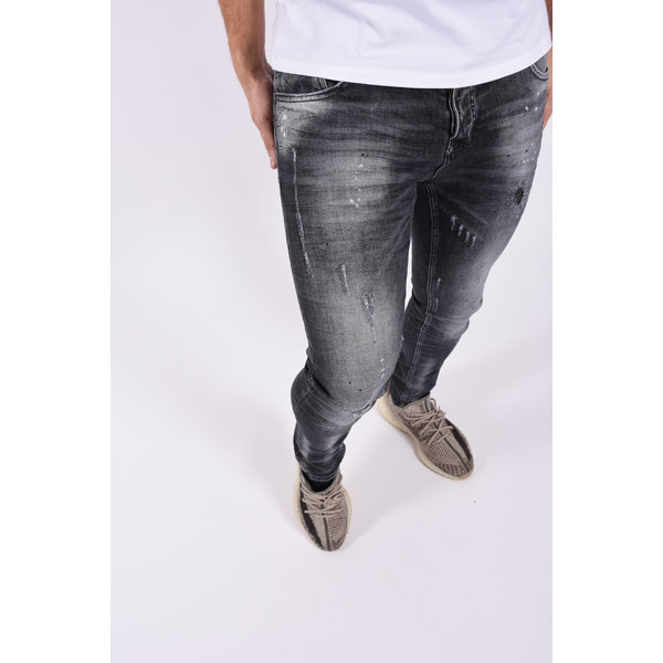 "Y Skinny fit stretch jeans 468 ""jeff"" Dark Grey black splashes"