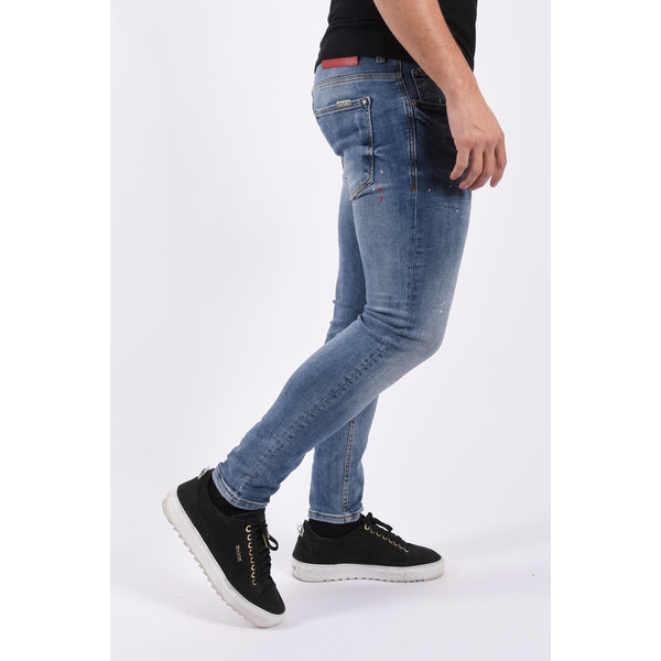 """Y Skinny fit stretch jeans 441 """"jeff"""" Blue with red white splashes"""
