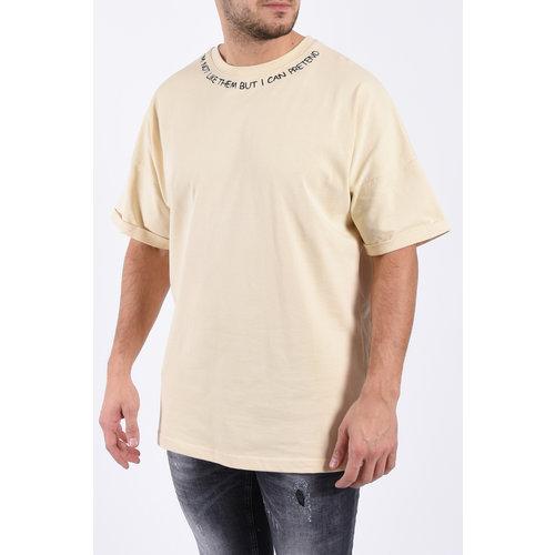 "Y Oversized unisex T-shirt ""i can pretend"" Beige"