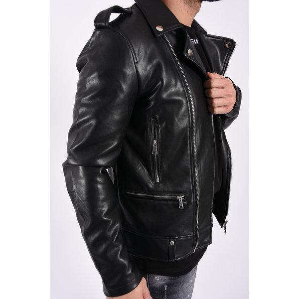 """Y Leather look biker jacket """"mike"""" Black"""