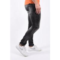 "Y Skinny fit stretch jeans ""mathijs"" Grey with orange / white splashes"