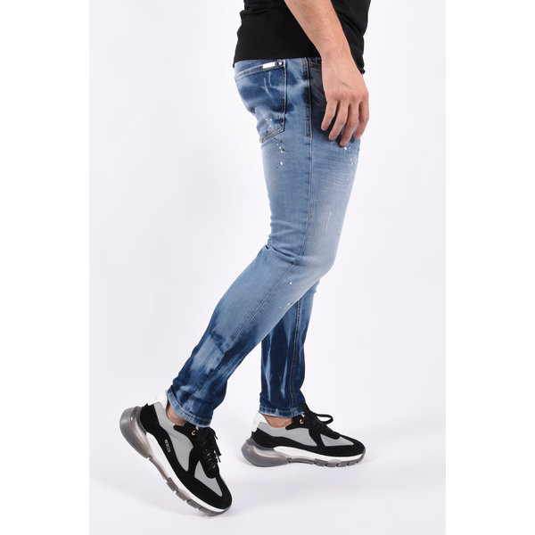 """Y Skinny fit stretch jeans """"mathijs"""" Blue with black white splashes"""