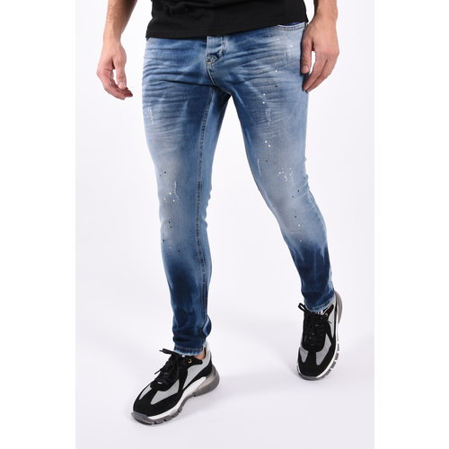 "Y Skinny fit stretch jeans ""mathijs"" Blue with black white splashes"