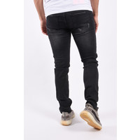 """Y Skinny fit stretch jeans """"blade"""" Black with yellow splashes"""