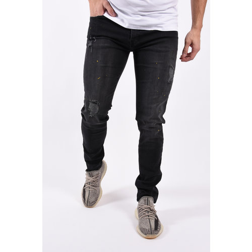"Y Skinny fit stretch jeans ""blade"" Black with yellow splashes"