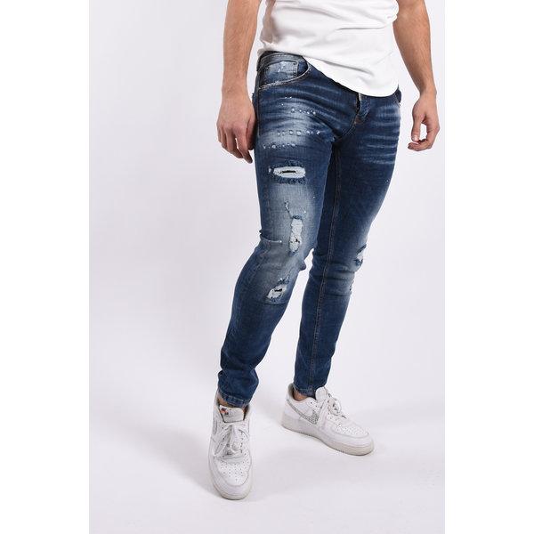 """Y Skinny fit stretch jeans """"lazar"""" Dark Blue white splashes"""